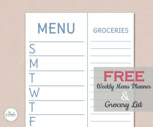 Free Printable Weekly Menu Planner - Sky Blue