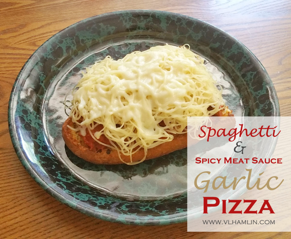 Spaghetti and Spicy Meat Sauce Garlic Pizza 3