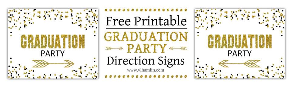 Black and Gold Polka Dots Graduation Party Sign Set 2