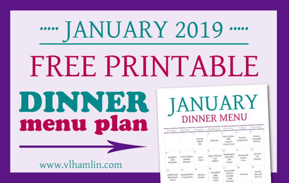 January 2019 Dinner Meal Plan
