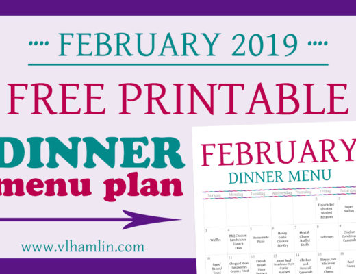 February 2019 Dinner Meal Plan Printable