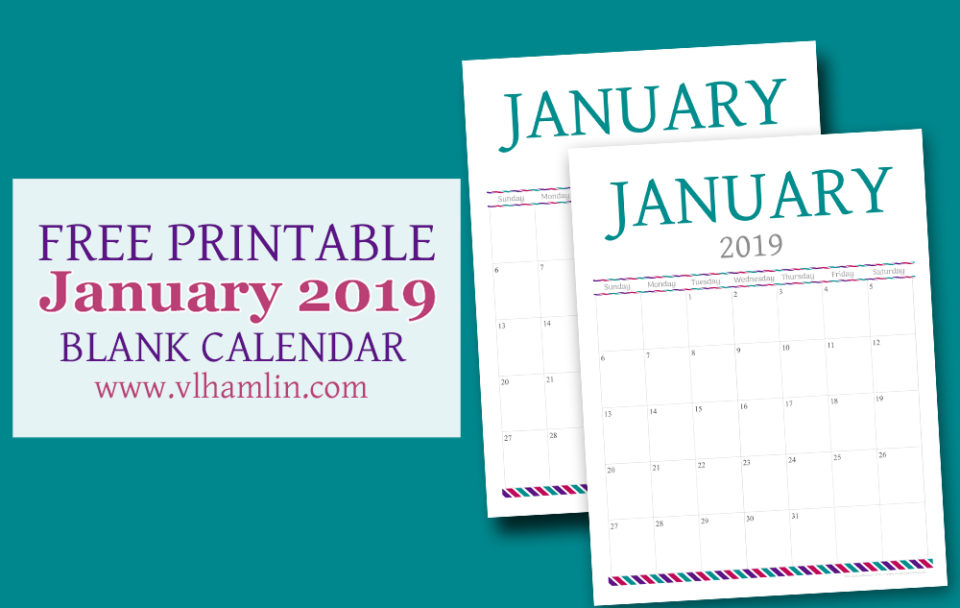 Free Printable Calendar - January 2019
