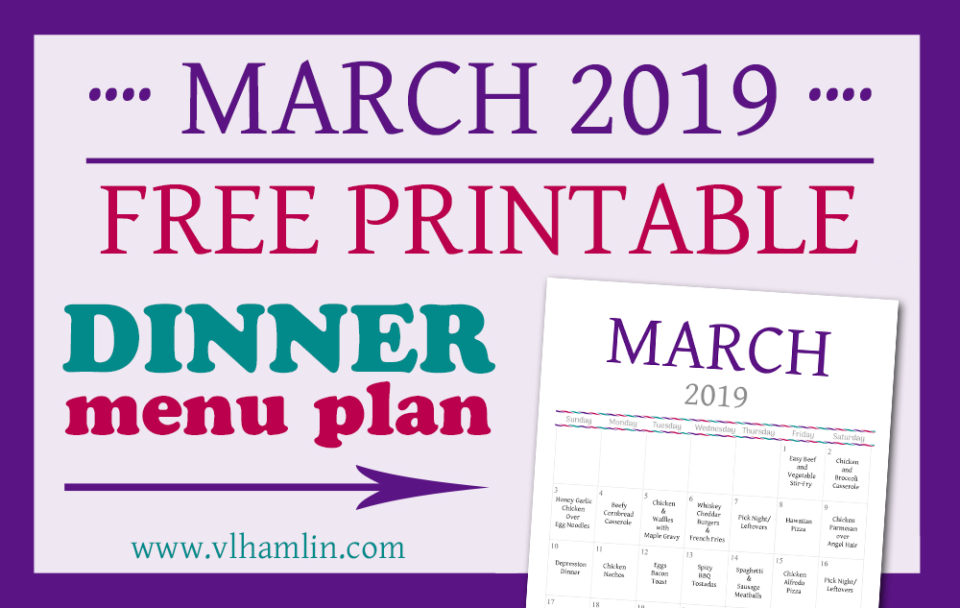 MARCH 2019 Dinner Meal Planner