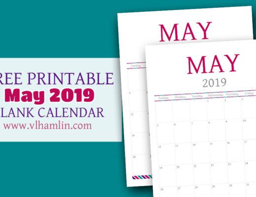 Free May Printable Calendar for 2019