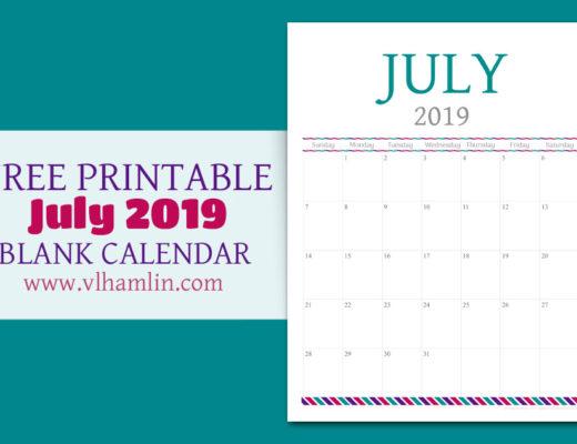 Free Printable Calendar - July 2019   Food Life Design