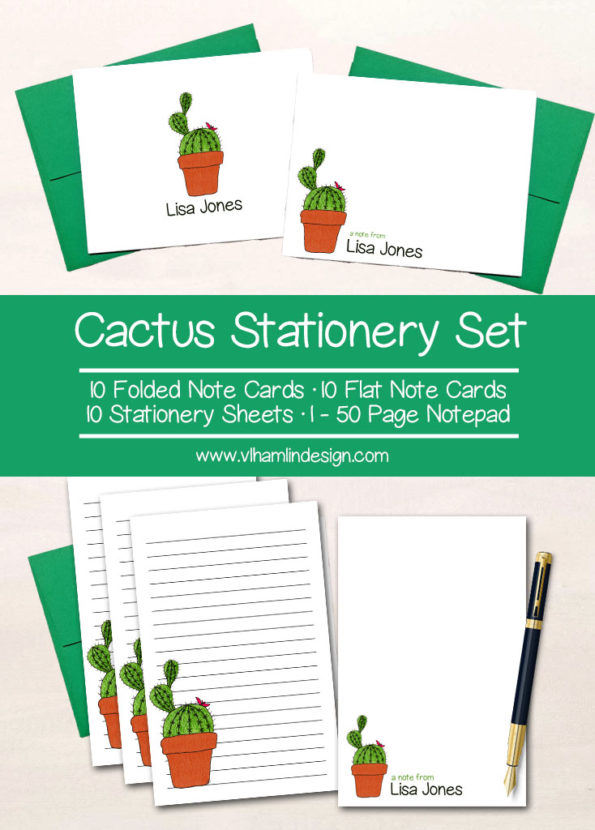 Cactus Stationery Set - VLHamlinDesign