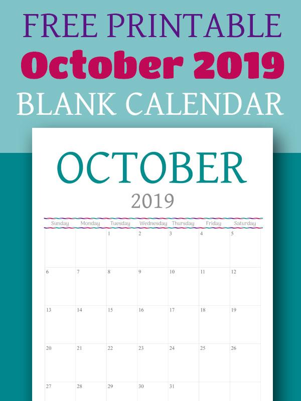 Free Printable Calendar - October 2019