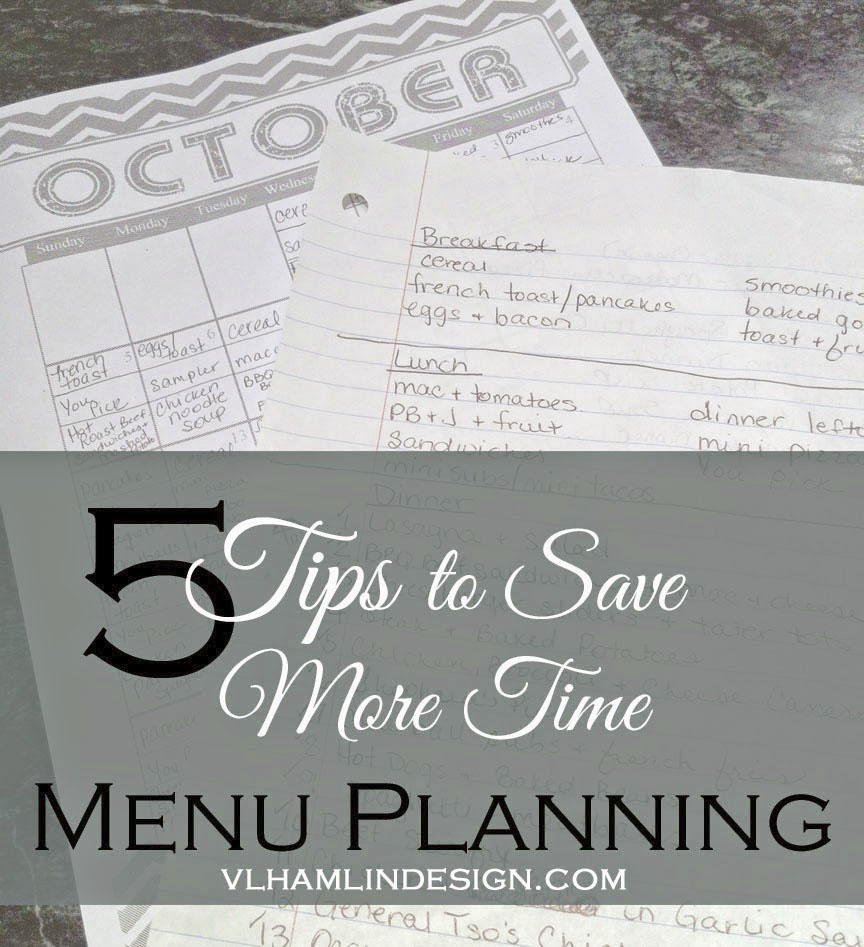 5 Tips to Save More Time Menu Planning