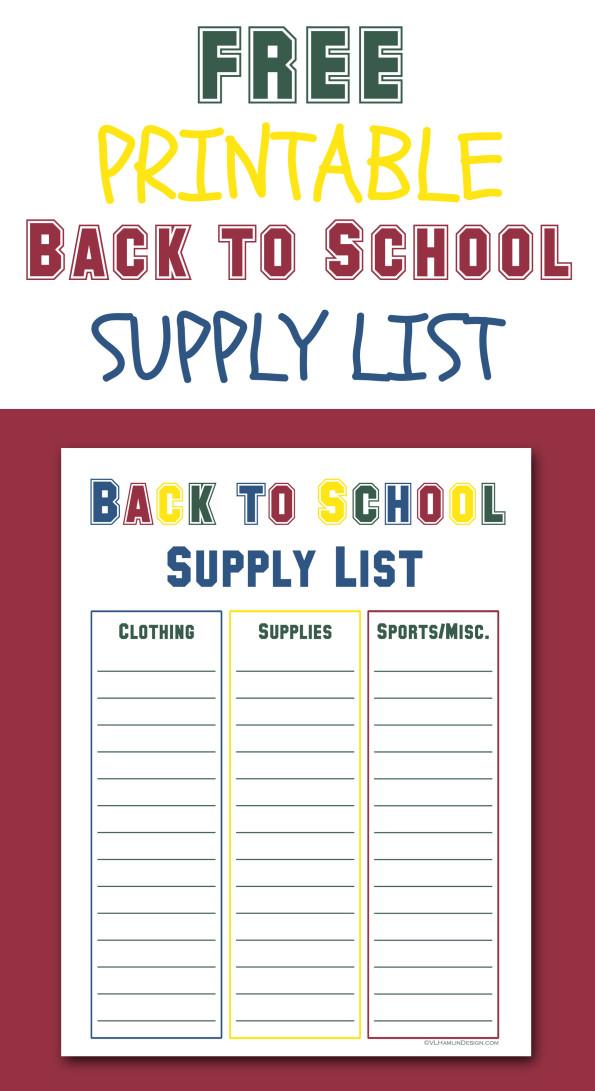 Free Printable Back to School Supply List - Food Life Design