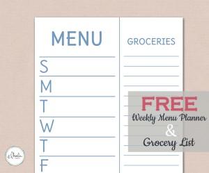 Free Printable Weekly Menu Planner - Sky Blue