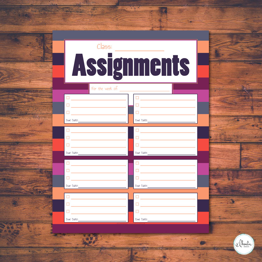 Class Assignments Printable | Blueberry Blossom