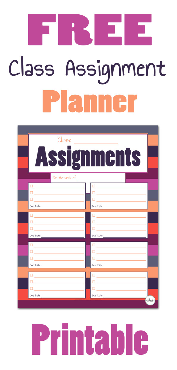 Free Class Assignment Planner - Blueberry Blossom