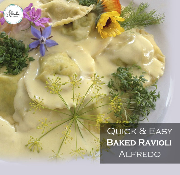 Quick and Easy Baked Ravioli Alfredo
