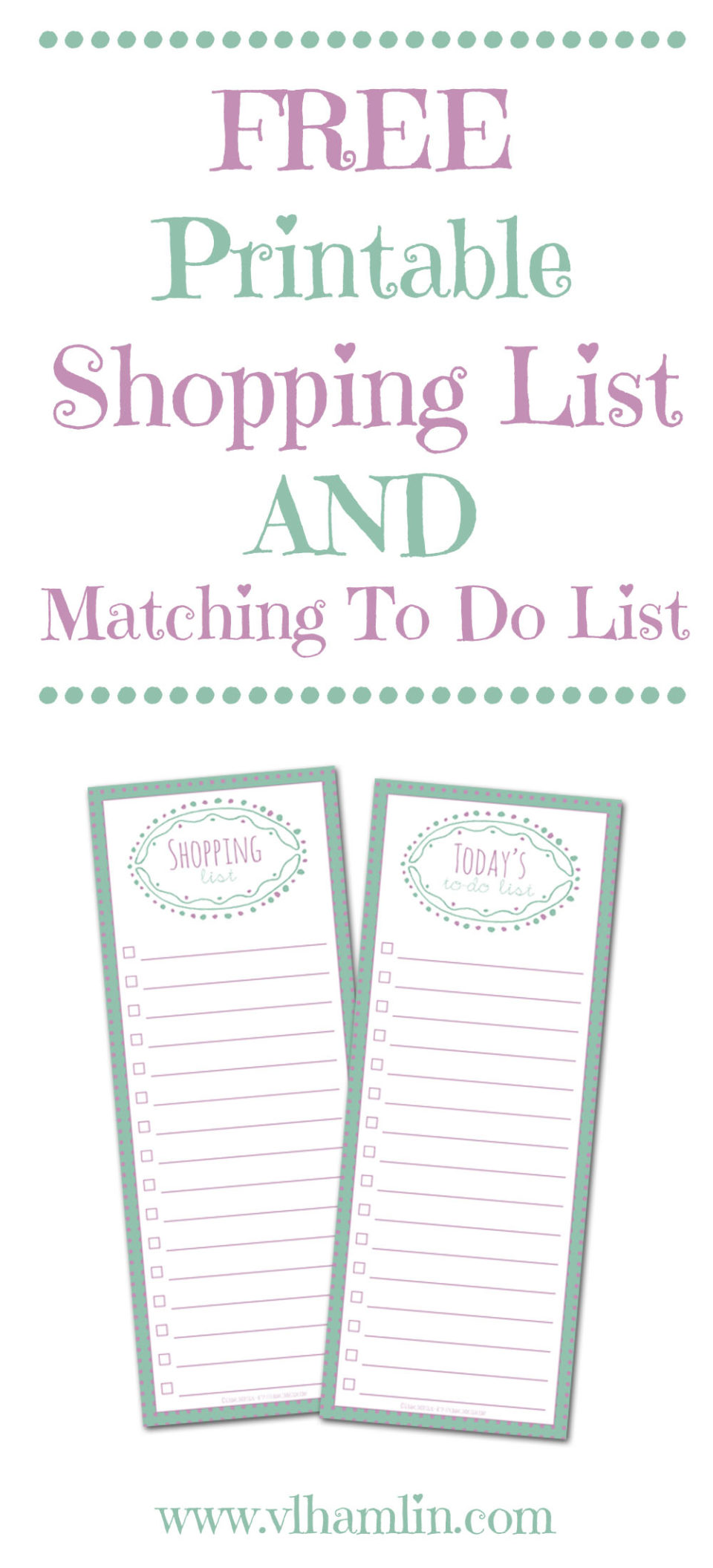 Free Printable Shopping List and Matching To Do List