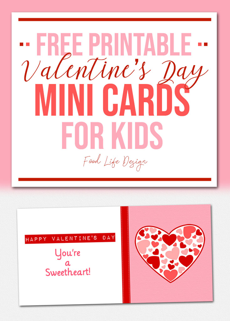 Free Printable Valentine's Day Mini Cards for Kids 2- Food Life Design