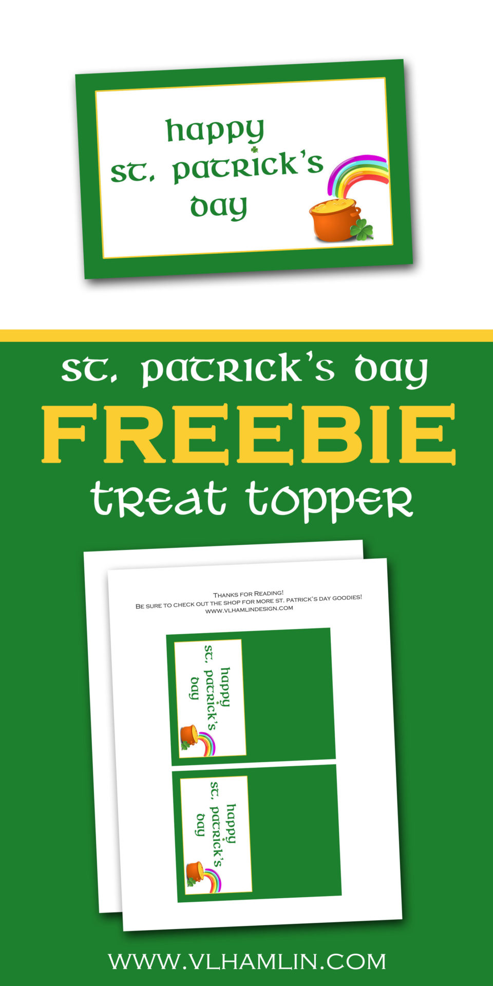 St Patricks Day Treat Bag Topper - FREEBIE - lead