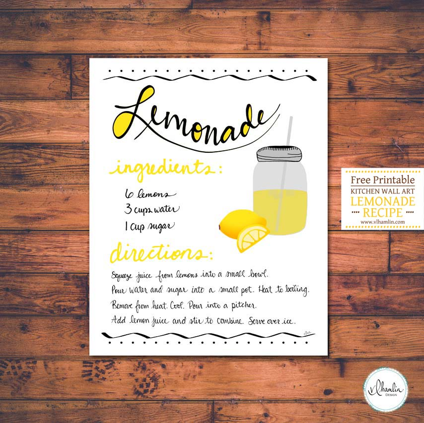 Free Printable Kitchen Wall Art - Lemonade Recipe