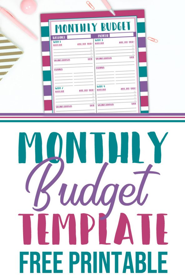 Monthly Budget Template Printable - Food Life Design