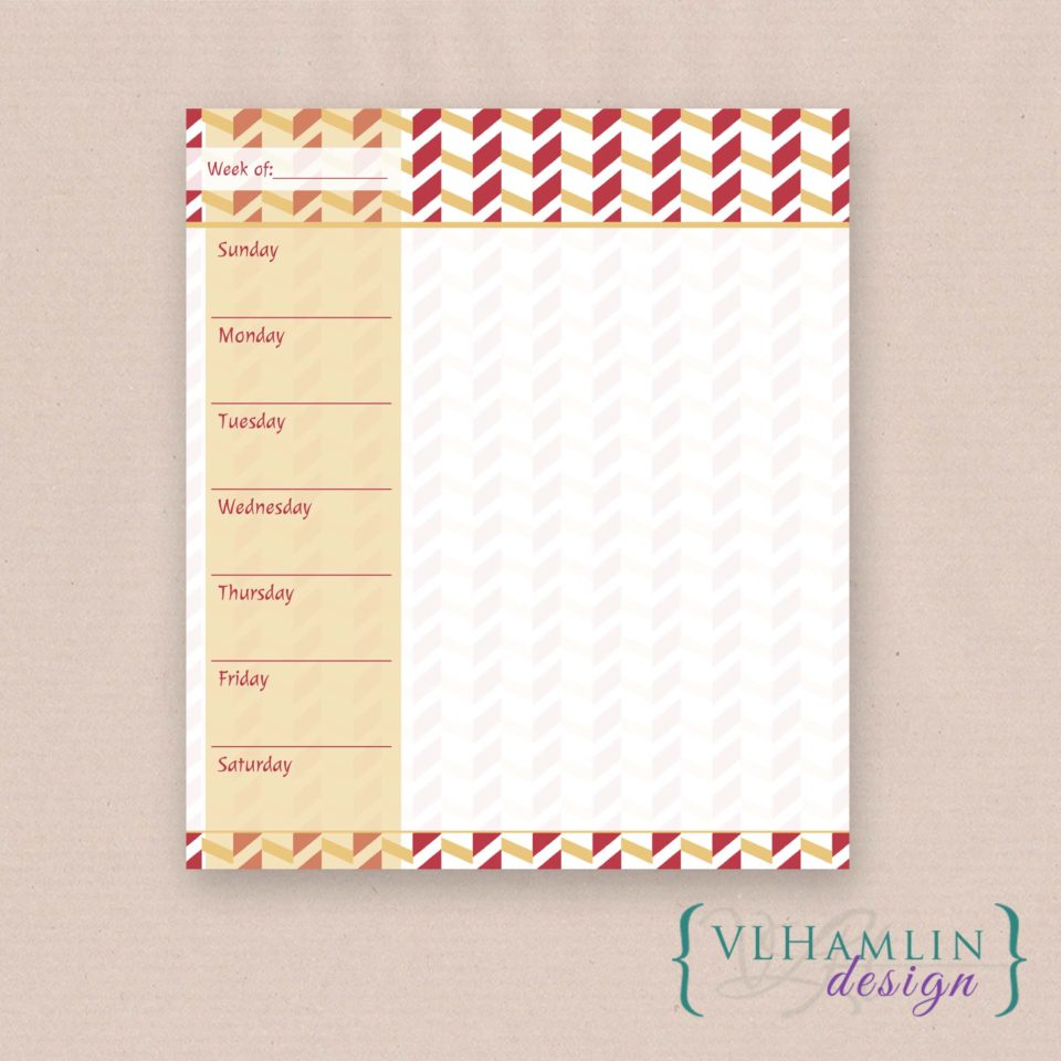 Free Printable Weekly Doodle Planner - Autumn Gold