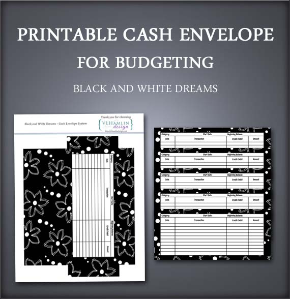 Black and White Dreams Cash Envelopes