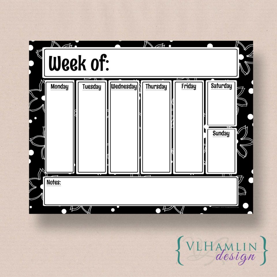 Black and White Dreams - Free Printable Weekly Planner