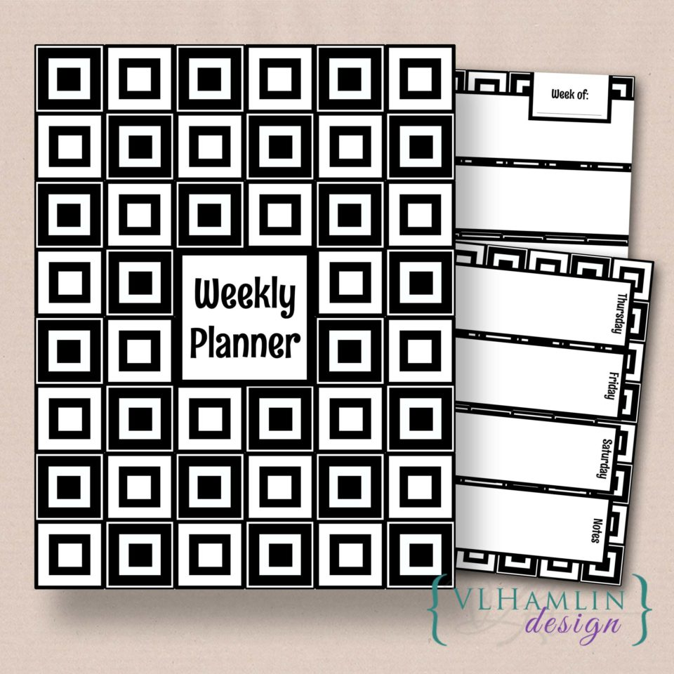 Black and White Squares - Free Printable Weekly Planner Set