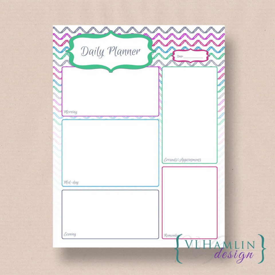 Free Printable Daily Planner - Chevron Sketch