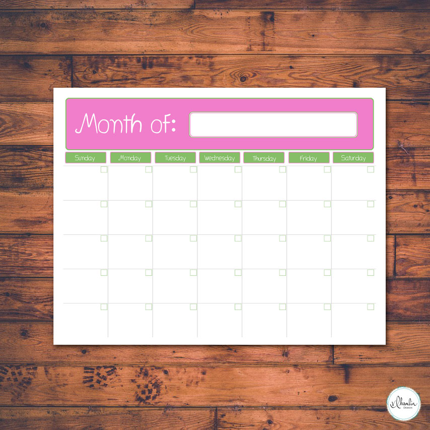 Free Printable Monthly Planner - Strawberry Margarita