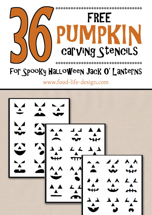 36 Pumpkin Carving Stencils for Halloween Jack O Lanterns - Food Life Design