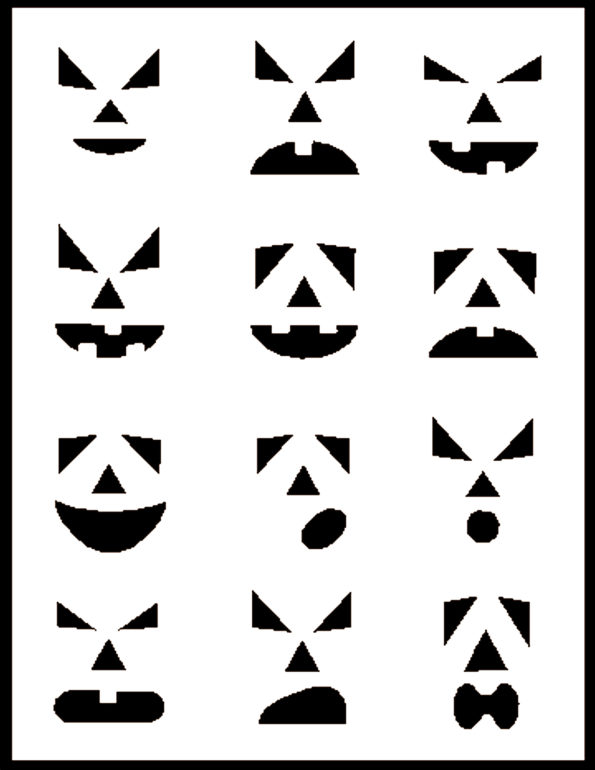 Pumpkin Carving Stencils - Set 1 - Example