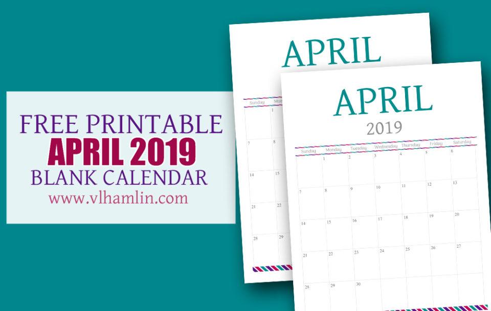 Free Printable Calendar - April 2019