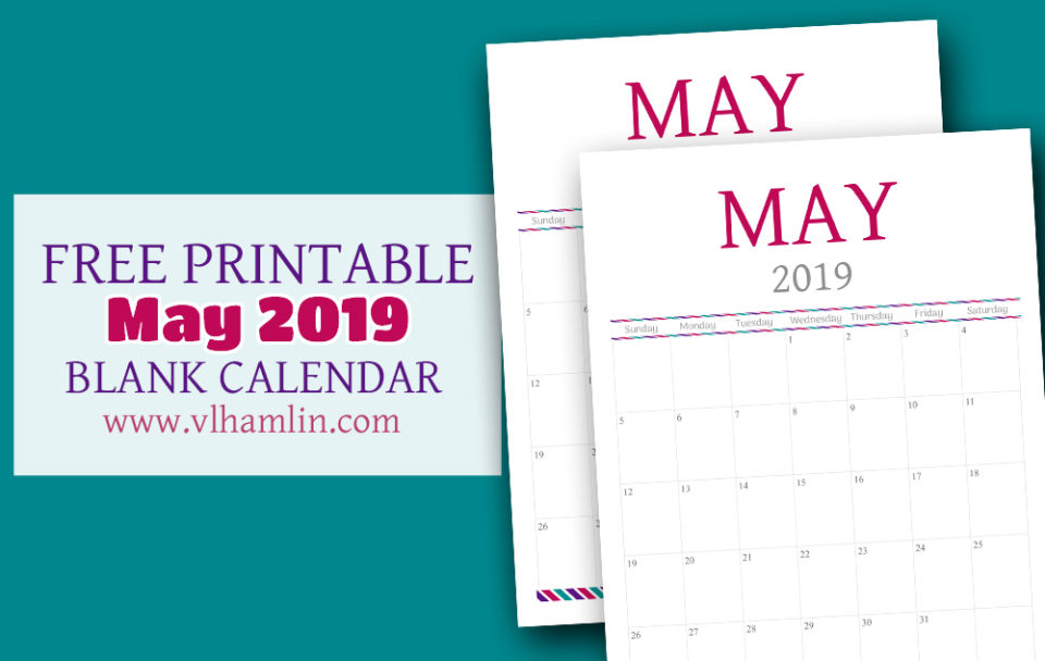 Free May Printable Calendar for 2019