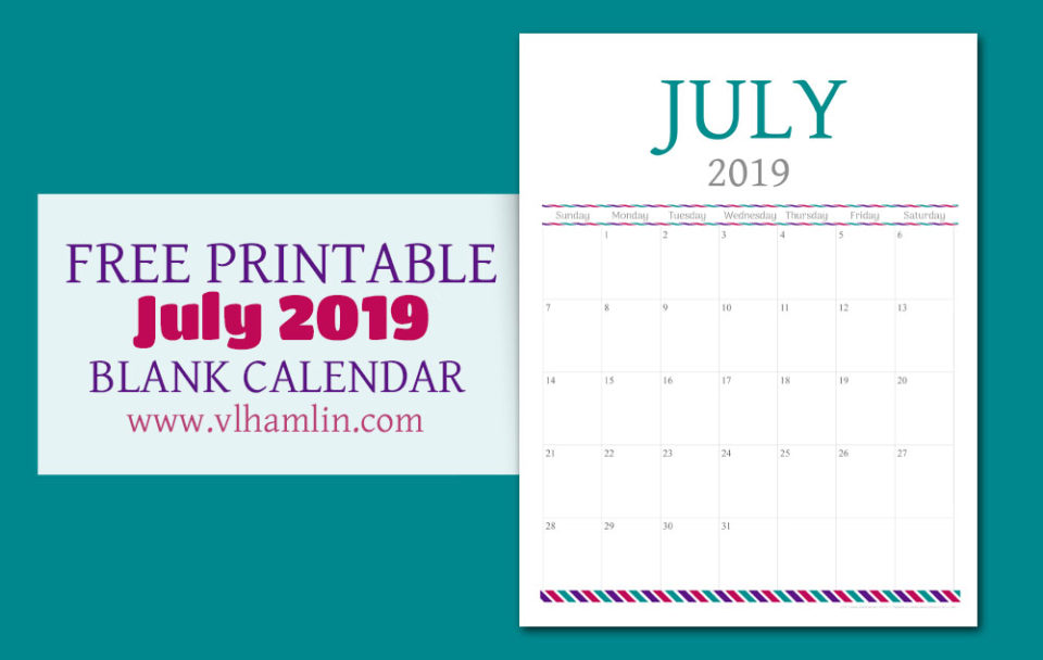 Free Printable Calendar - July 2019 | Food Life Design