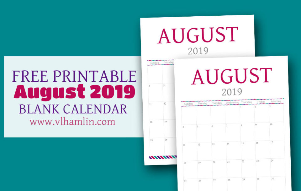 Free Calendar Printable - August 2019