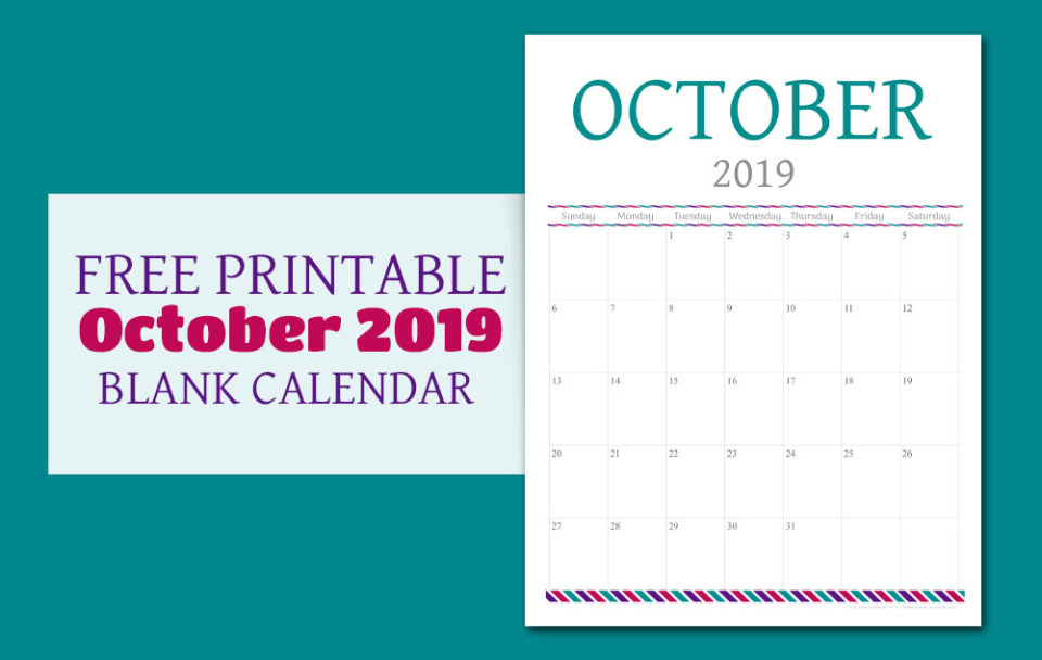 Free Printable Calendar - October 2019 | Food Life Design