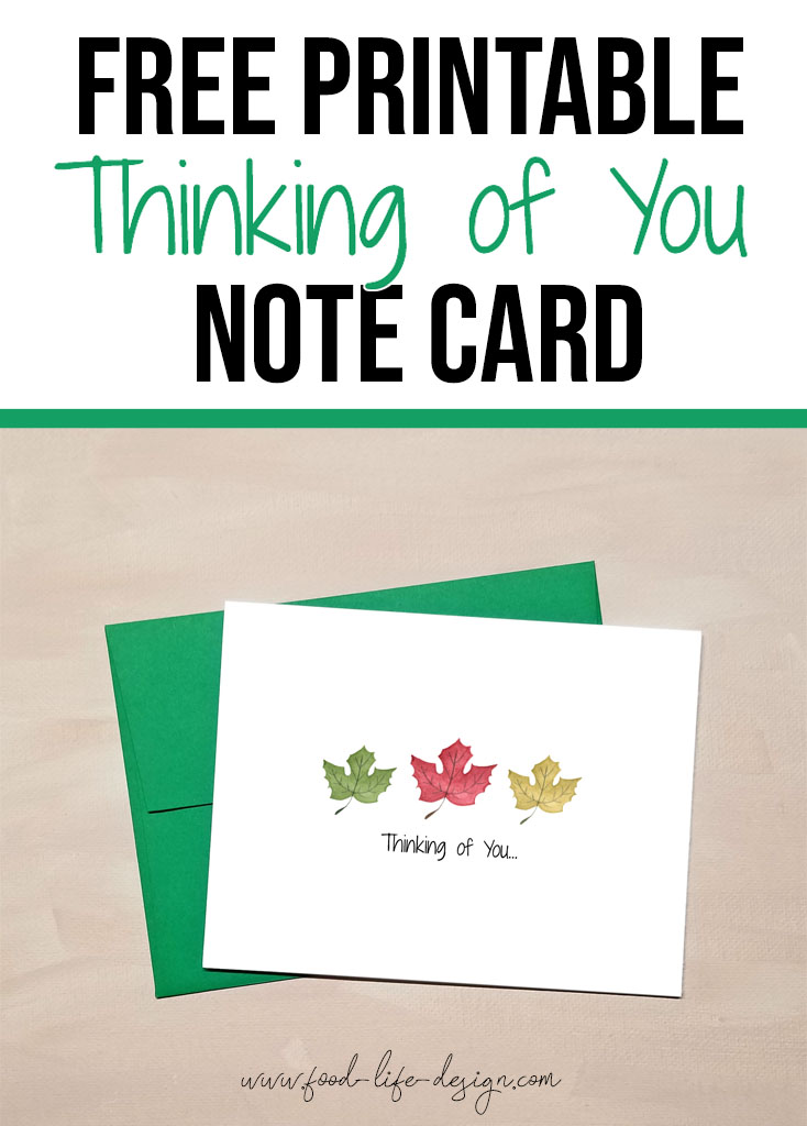 Free Printable Thinking of You Note Card - Food Life Design