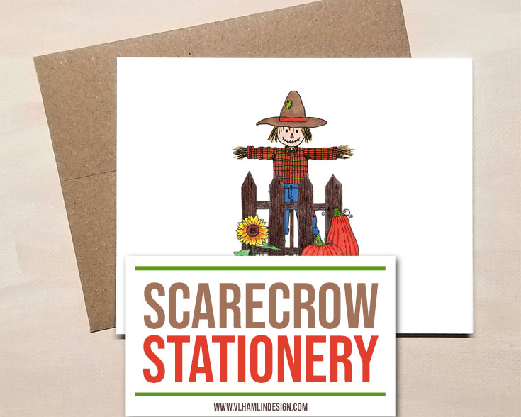 Scarecrow Stationery for Fall 2 - Food Life Design