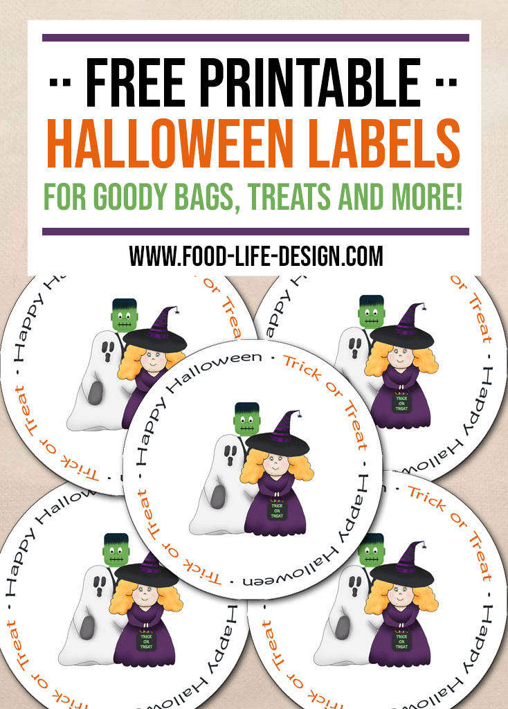 Free Printable Halloween Labels - Trick or Treat - Food Life Design