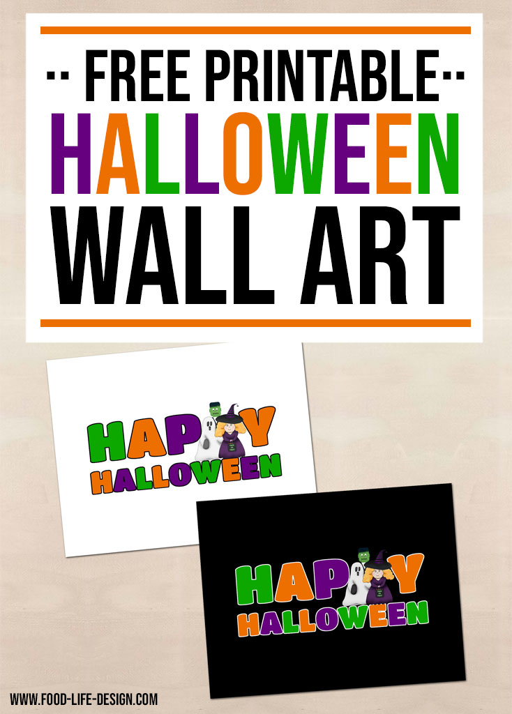 This adorable free printable Halloween wall art is the perfect addition to your trick or treat decorations! | Food Life Design