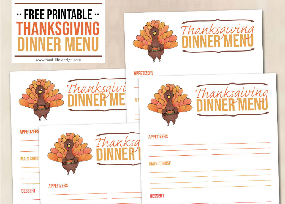 Free Printable Thanksgiving Dinner Menu - Food Life Design
