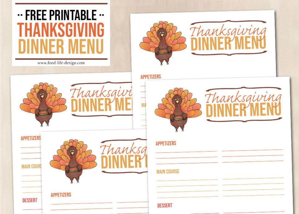 Free Printable Thanksgiving Dinner Menu - Food Life Design