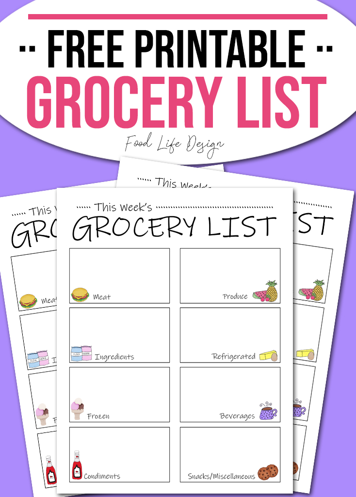 Free Printable Grocery List - Food Life Design