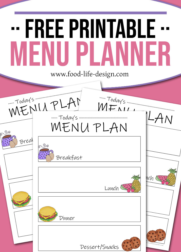 Free Printable Menu Planner - Doodles - Food Life Design