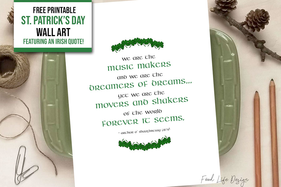 Free Printable St Patricks Day Wall Art - Food Life Design