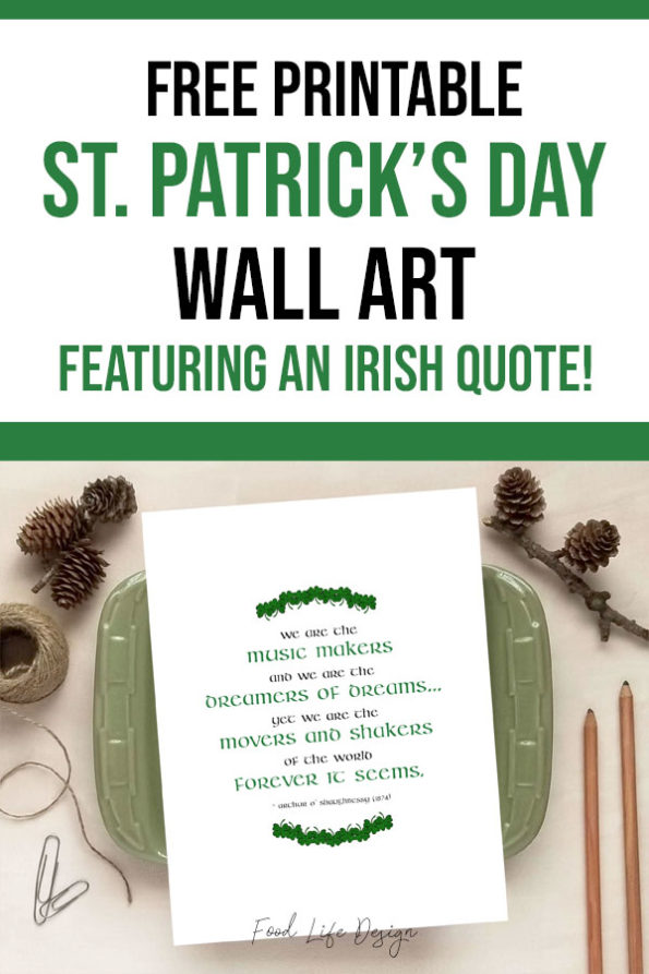 Free Printable St Patricks Day Wall Art with Irish Quote - Food Life Design