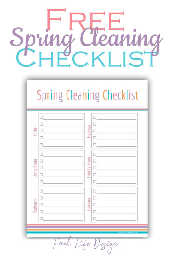 Free Printable Spring Cleaning Checklist - Food Life Design