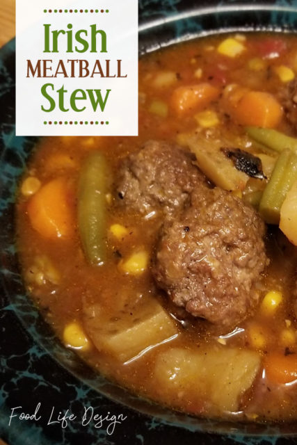 Need a hearty meal that will stretch for the whole family? This Irish Meatball Stew recipe is packed full of enough veggies and meatballs to feed up to 8 hungry people! - Food Life Design