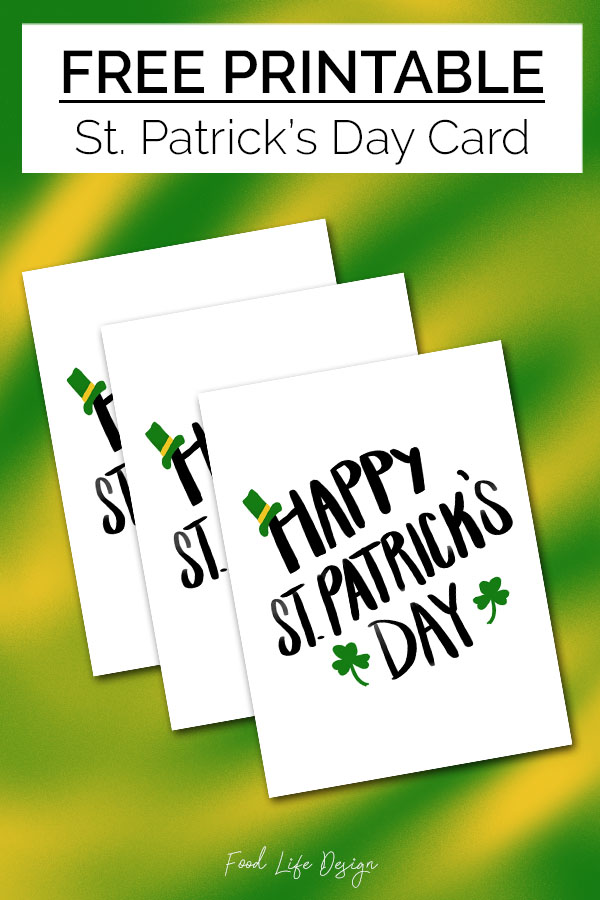 Free Printable St Patricks Day Card - Food Life Design