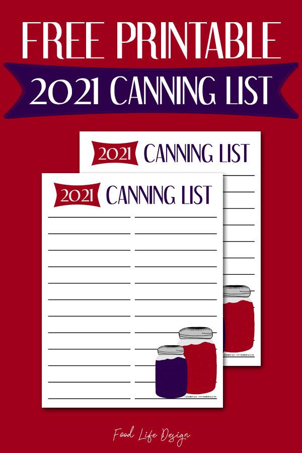 2021 Canning List Printable Freebie - Food Life Design